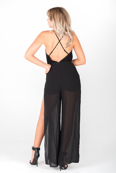 KELLY - Black Slit Jumpsuit