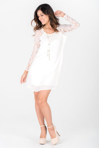 MEGAN - White Lace Sleeves Dress