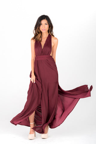 KARA - Oxblood Deep Cut Maxi Gown