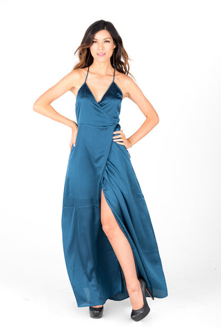 TINA - Blue Satin Maxi Dress