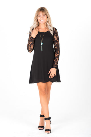 MEGAN - Black Lace Sleeves Dress