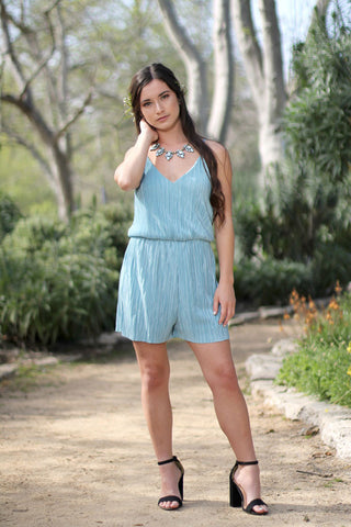 AMBER - Blue Pleated Romper
