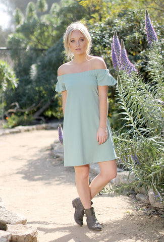 LUCY - Green Off-the-Shoulder Dress