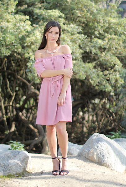 CRYSTAL - Mauve Short Dress