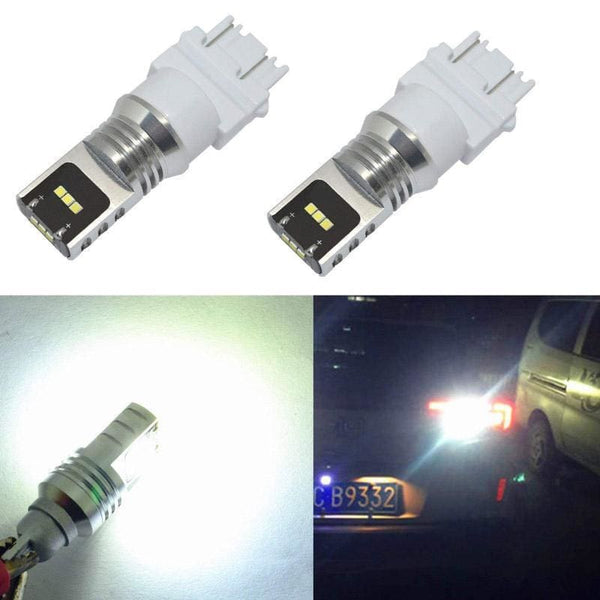 3156 White LED 1800LM CSP Chips for cars trucks Turn signal Brake Reverse DRL (2 Pieces) - LEDS