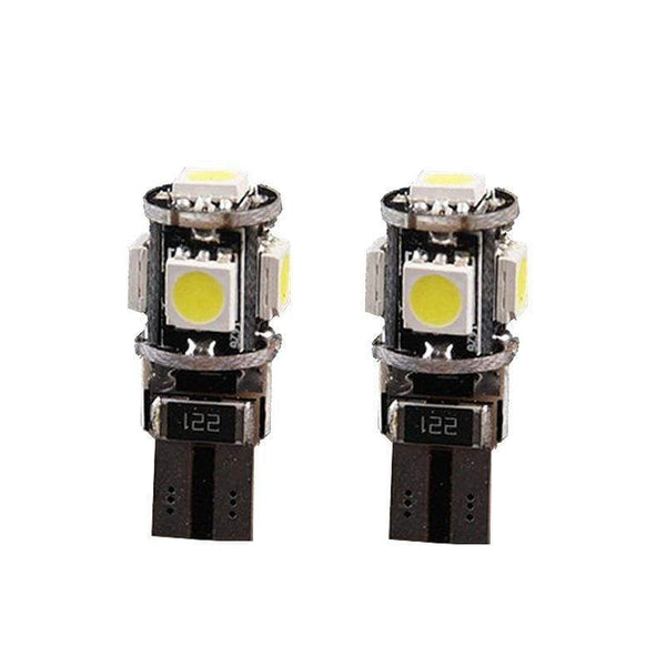 360-degree Error Free 5-SMD-5050 T10 194 2825 W5W LED Bulbs w/ Built-in Load Resistors (2 Pieces) - LEDS
