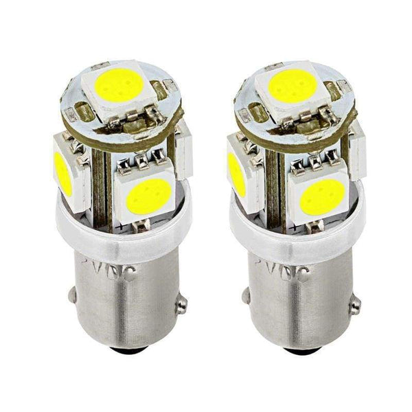 360-Degree Shine 5-SMD BA9 BA9s 64113 1895 57 LED Bulbs (2 Pieces) - LEDS