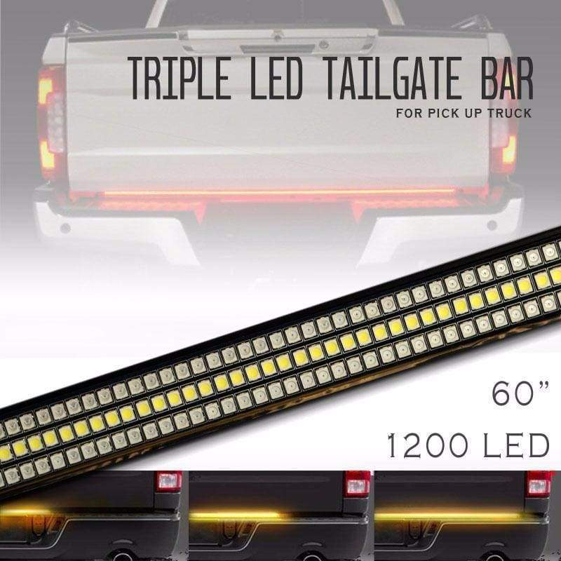 Three Row LED Tailgate Brake Light Bar with Reverse & Sequential Turn Signals - Trucks