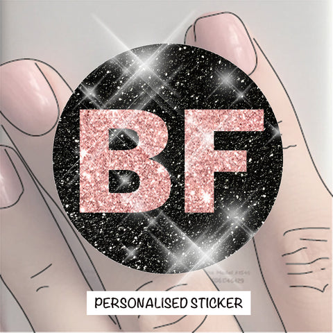 PERSONALISED STICKER - BLACK & ROSE GOLD GLITTER