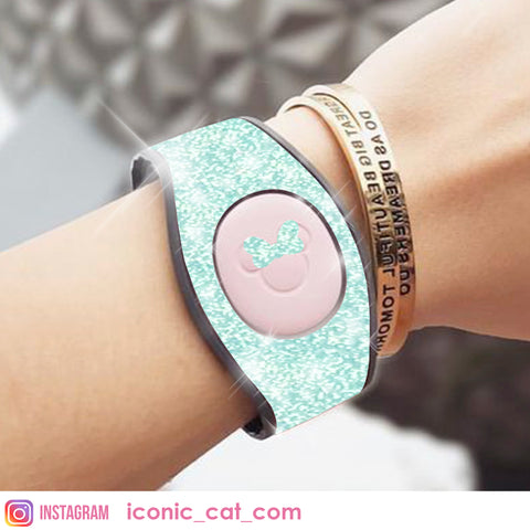 TIFFANY BABY BLUE GLITTER SKIN DECAL FOR MAGICBAND MAGIC BAND