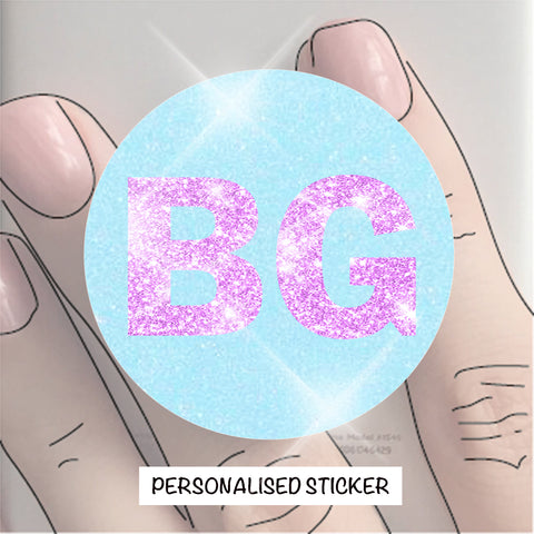 PERSONALISED STICKER - BLUE & PINK GLITTER