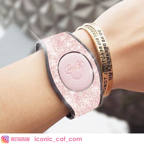 BABY pink glitter wrap decal skin for magicband magic band by iconic cat