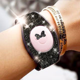 black glitter wrap skin for magic band 2.0 comes with bow for mickey