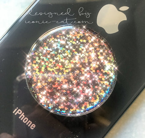 Black iridescent holographic glitter - 3D GEMSTONE STICKER FOR PopSockets