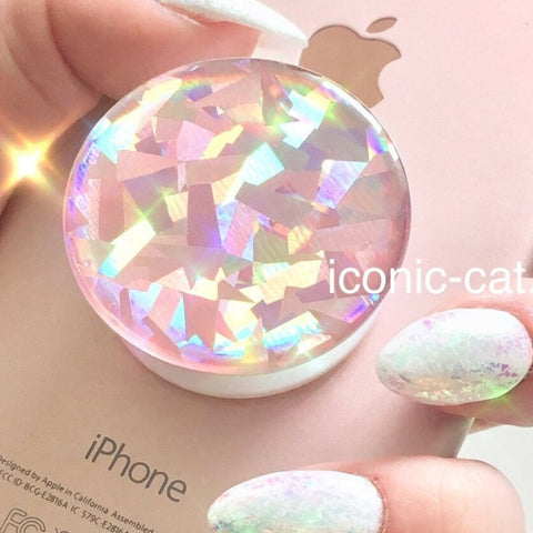 3D sticker decal skin for popsockts popsocket,crystal metallic rose gold diamond holographic rainbow