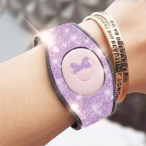 LILAC glitter magic band wrap decal skin for magicbands 2.0 very sparkly skins