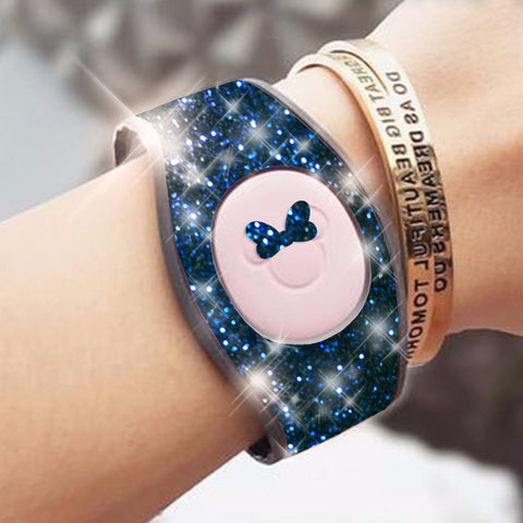 navy blue glitter magic band wrap decal skin for magicbands 2.0 very sparkly
