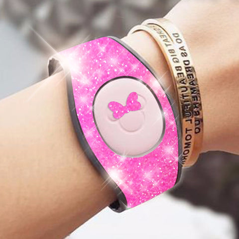Pink glitter magic band wrap decal skin for magicbands 2.0 very sparkly