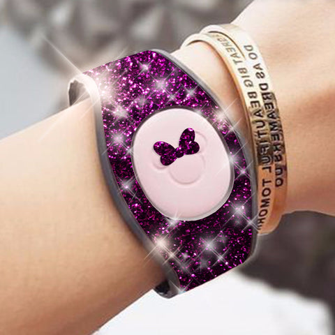 purple glitter magic band wrap decal skin for magicbands 2.0 very sparkly skins