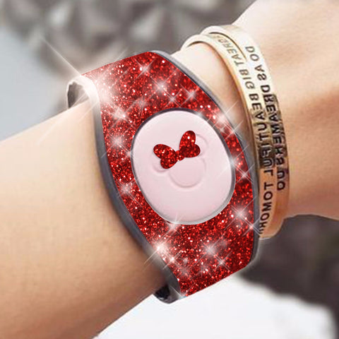red glitter magic band wrap decal skin for magicbands 2.0 very sparkly skins comes with bow