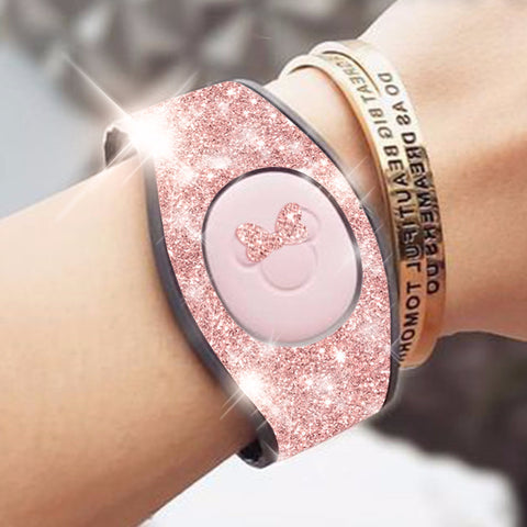 rose gold glitter magic band wrap decal skin for magicbands  comes with bow, 2.0 very sparkly skins