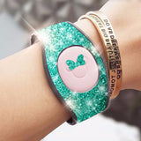 teal glitter magic band wrap decal skin for magicbands 2.0