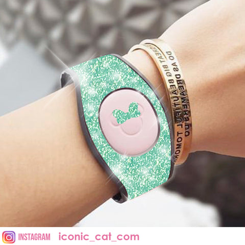 MINT GLITTER cover skin decal for magic band magicband by iconiccat