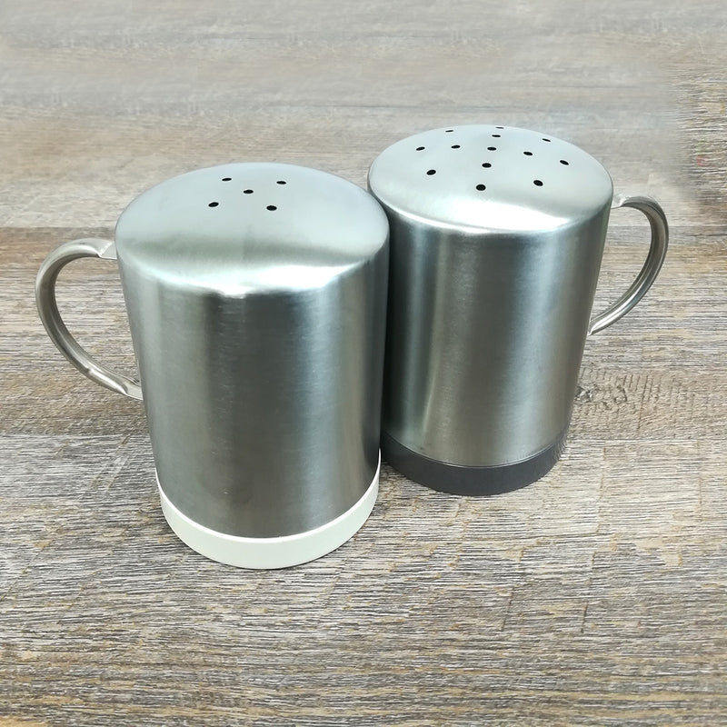 Metal Salt and Pepper Shakers - Molded Bamboo® & Stainless Steel