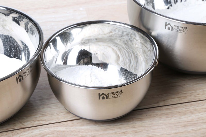 3 Pc Stainless Steel Mixing Bowl w/Measuring Scale
