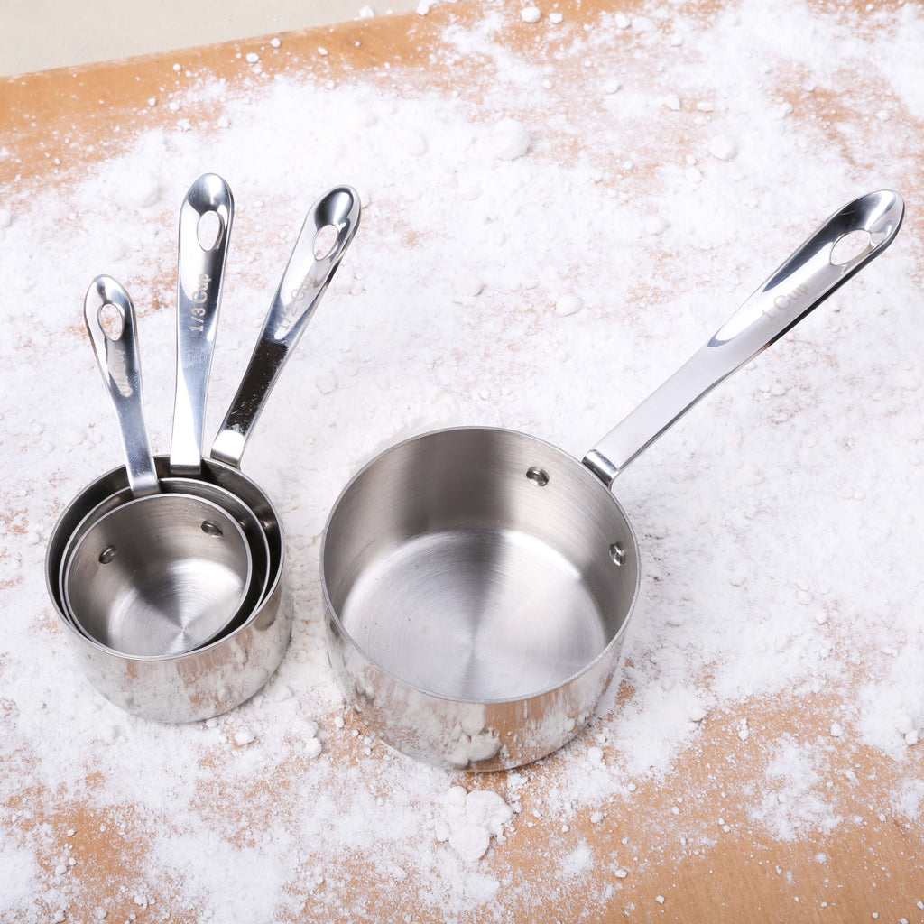 4 pc Stainless Steel Measuring Cups w/Chain
