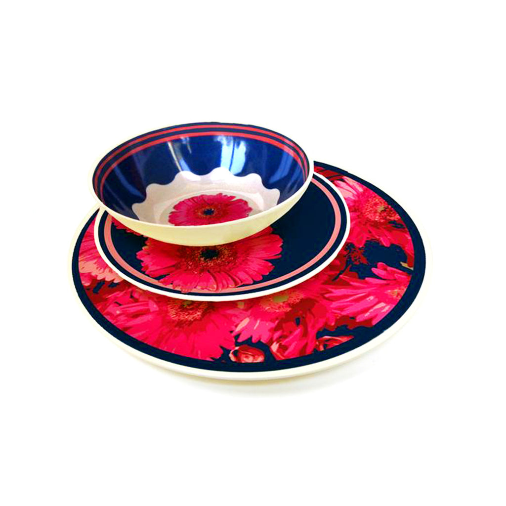 Molded Bamboo® Gerber Daisy Dinnerware Set – 12 Piece