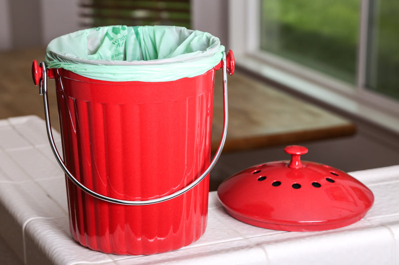 Molded Bamboo® 1 Gallon Compost Bin - Cherry Red