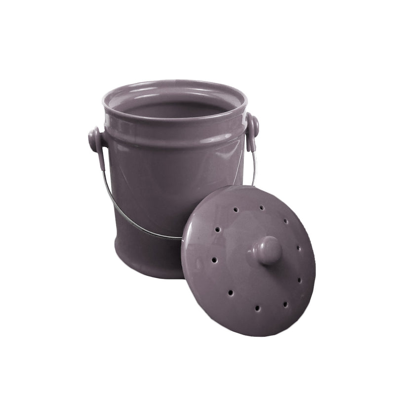 Ceramic Kitchen Compost Bin - Charcoal Grey