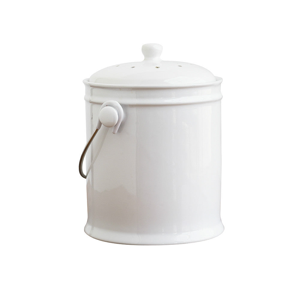 White Kitchen Bin ceramic kitchen compost bin - natural home brands
