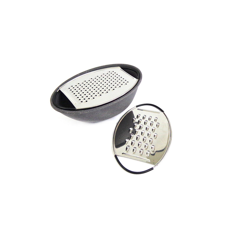 Oval Cheese Grater - Stainless Steel & Molded Bamboo®