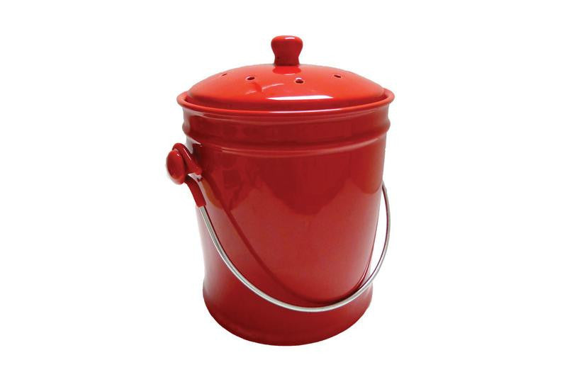 Ceramic Kitchen Compost Bin - Cherry Red