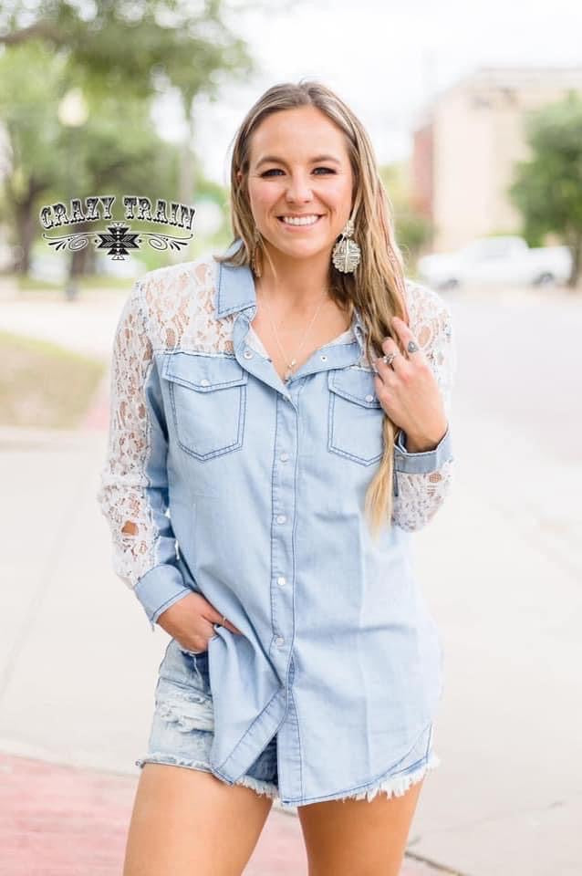 Chambray & Lace Button Down