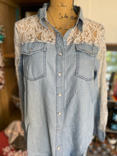 Load image into Gallery viewer, Chambray & Lace Button Down