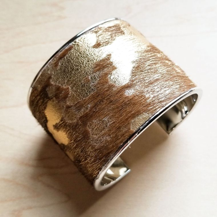 Hair-on-Hide Tan and Gold Metallic Leather Cuff Bracelet