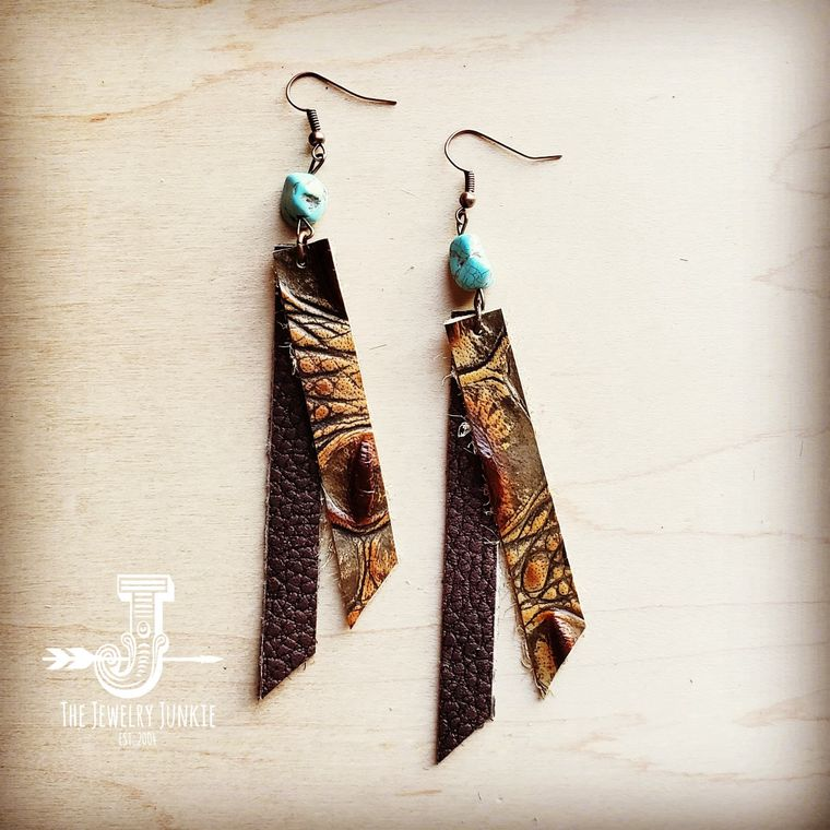 Leather Rectangle Earrings in Savannah Gator
