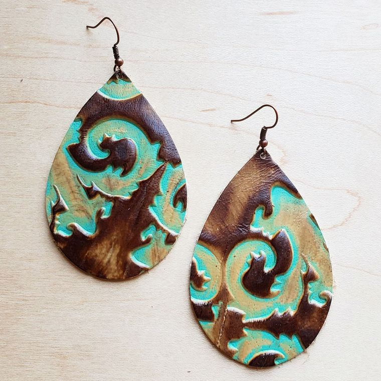 Leather Teardrop Earrings in King Turquoise Floral 224t