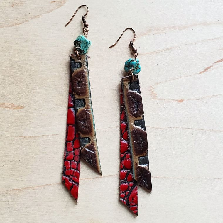 Leather Rectangle Earrings w/ Turquoise