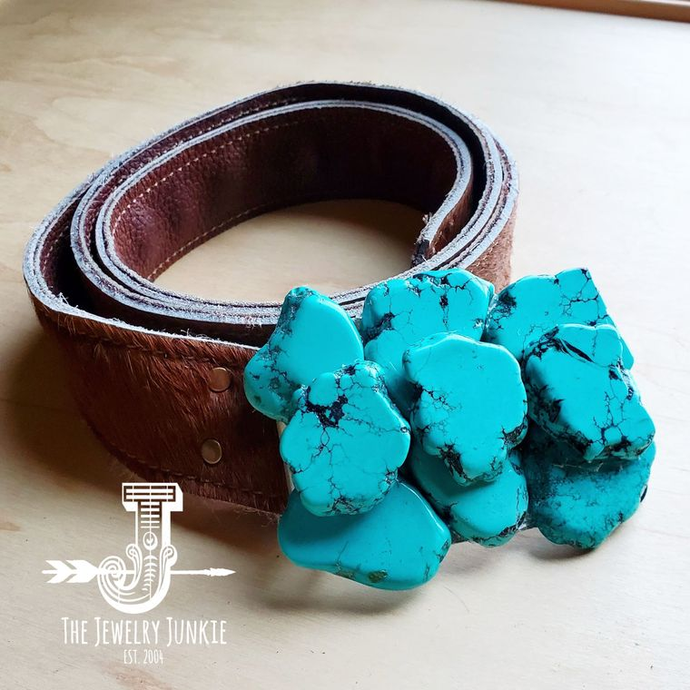 Turquoise Slab Belt Buckle w/ Hair on Hide Leather Belt