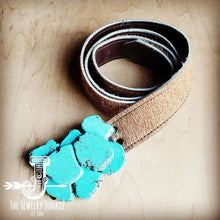Load image into Gallery viewer, Turquoise Slab Belt Buckle w/ Hair on Hide Leather Belt