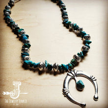 Load image into Gallery viewer, Squash Blossom Necklace in Natural Turquoise