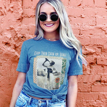 Load image into Gallery viewer, Keep Your Chin Up Girl - Unisex-sized Graphic Print Slate Crewneck Tee