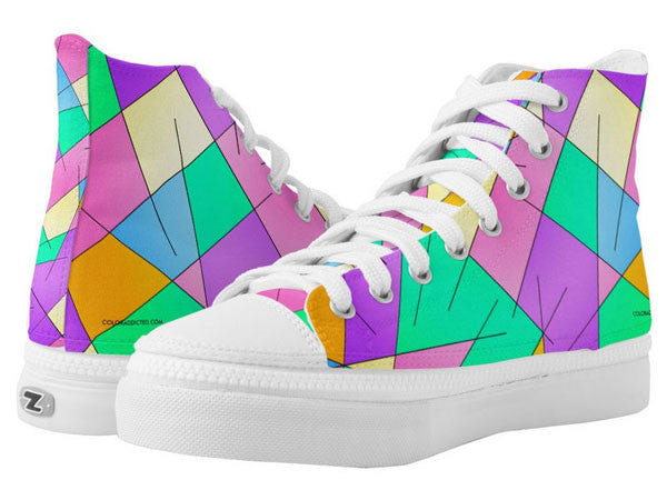 ZipZ High-Top Sneakers with Inspirational Life Quotes, Funny Quotes & Colorful Prints - COLORADDICTED.COM