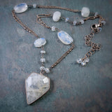 Selene Goddess Of The Moon Rainbow Moonstone Necklace