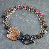 Mixed Metal Thistle and Tourmaline Bracelet
