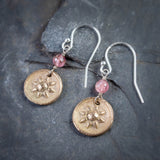 Bronze Star Flower and Pink Tourmaline Earrings